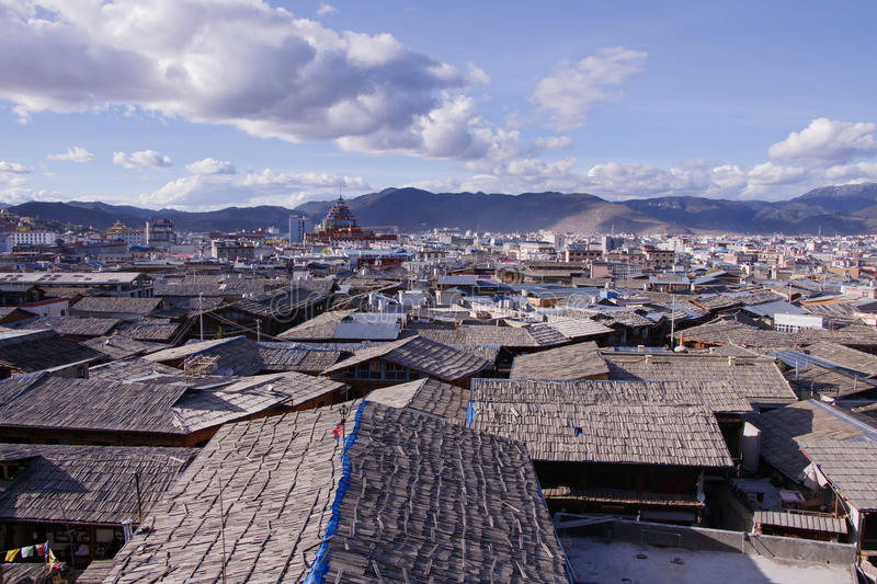 Blue sky Dukezong ancient town in Shangri La, Yunnan, China. Dukezong ancient town in Shangri La, Yunnan, China royalty free stock photography