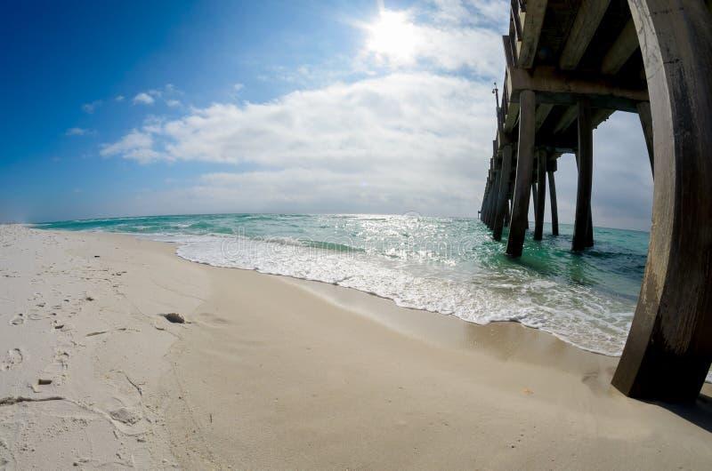 Blue Sky, Emerald Water, Fishing Pier landscape stock photo