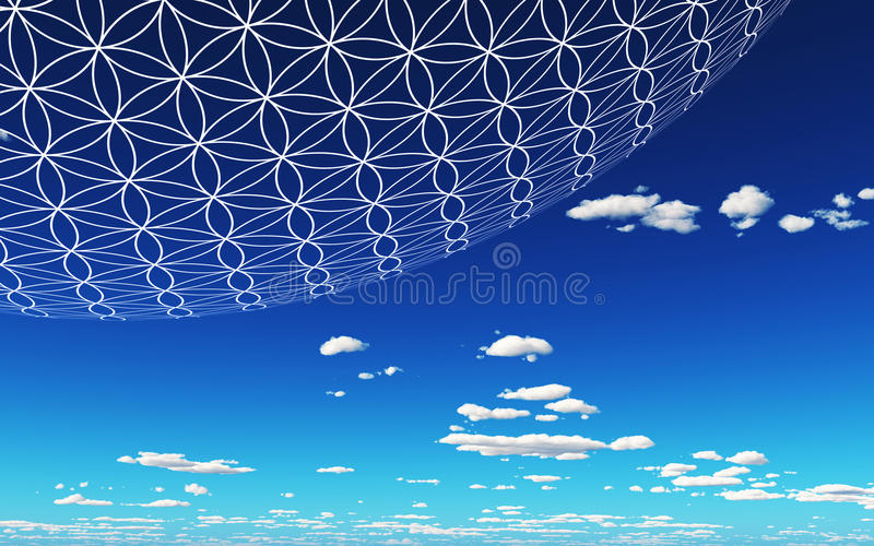 Blue sky and Flower of Life. A blue sky with a sphere with the Flower of Life structure royalty free stock images