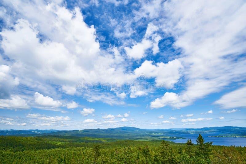 Blue sky forest mountain sumava lipno stock photo