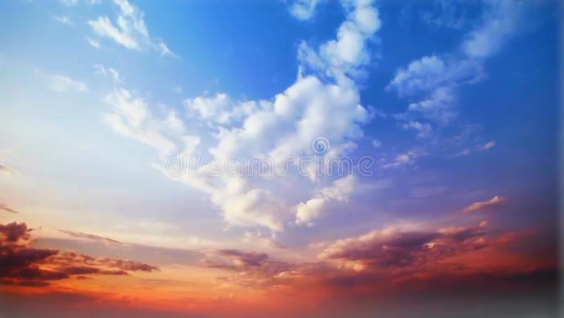 Blue sky with gray clouds orange sunlight. Blue sky with gray clouds orange  sunlight stock photo