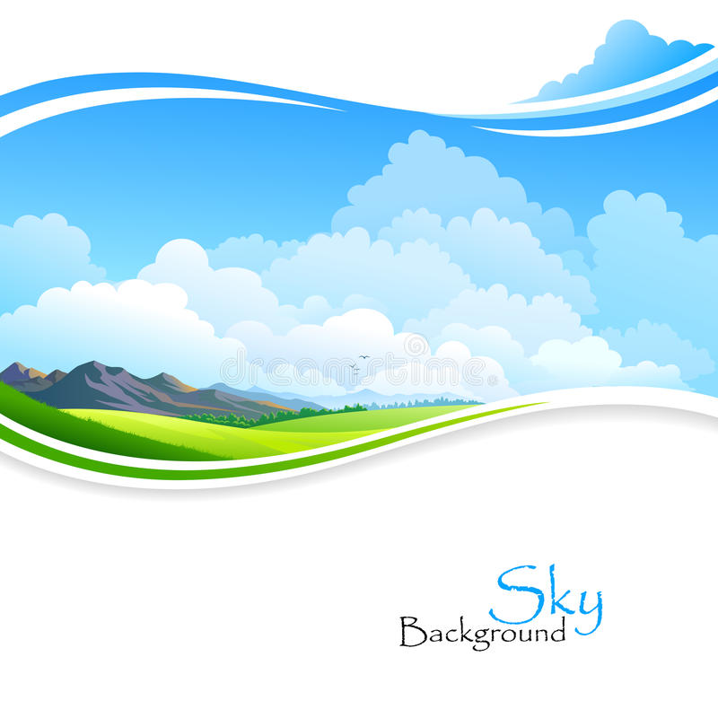 Blue sky ,Green fields and distant Hills. For your creative needs royalty free illustration
