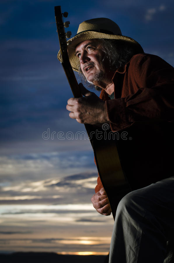 Blue Sky Guitarist Royalty Free Stock Photo