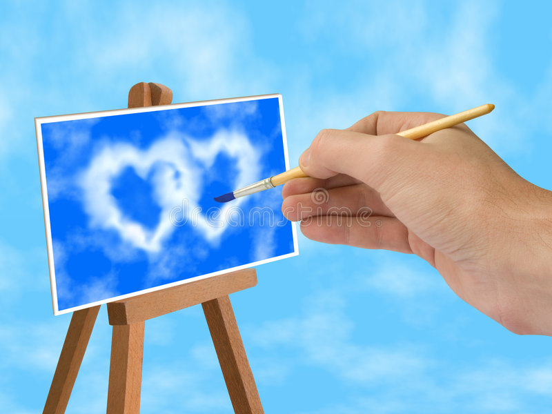 Download Blue Sky And Heart-shaped Clouds On Easel Stock Image - Image: 1875615