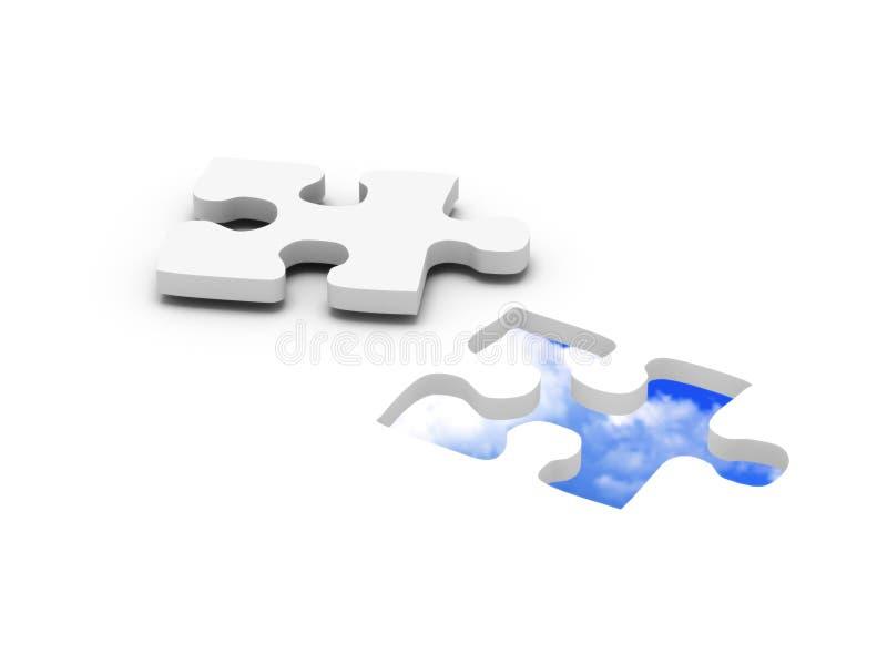 Blue sky jigsaw puzzle stock illustration