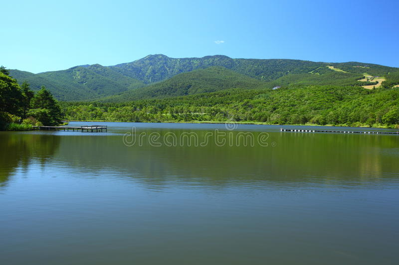 Blue sky and lake in the mountain stock photo