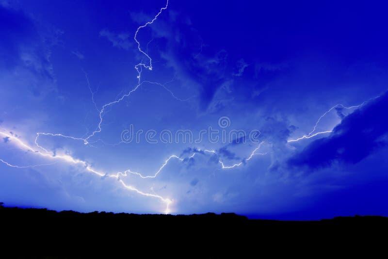 Blue Sky Lightning Strike royalty free stock photography