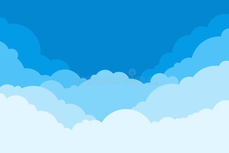Blue Sky met Clouds Achtergrond tekenfilm Heldere illustratie voor ontwerp Kids Cloud Background Vectorillustratie stock illustratie