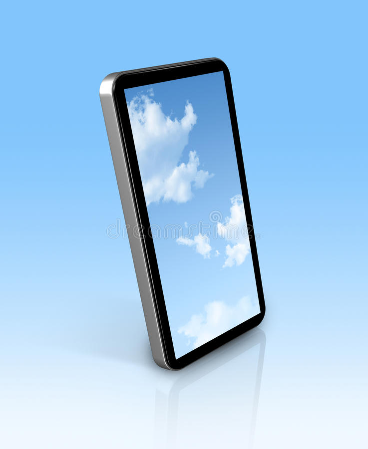 Download Blue sky in a mobile phone stock illustration. Image of dimensional - 20174262