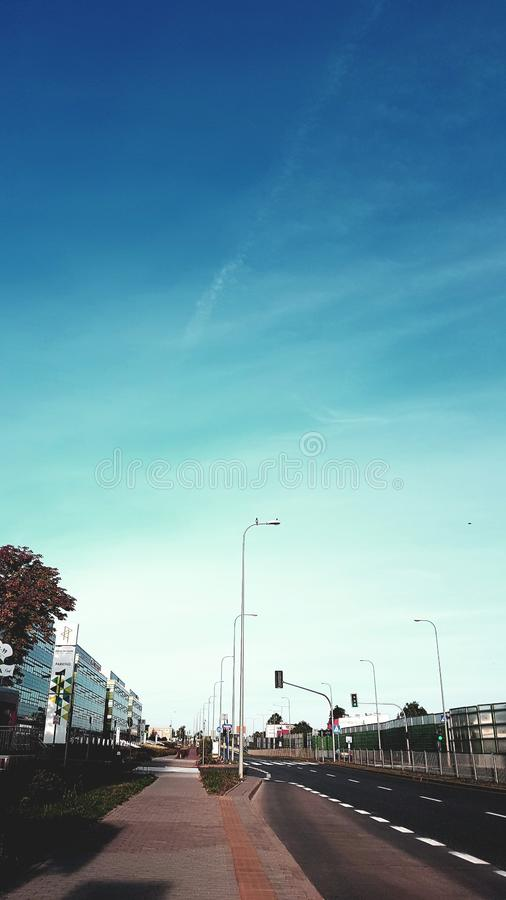Blue sky in the modern city royalty free stock image