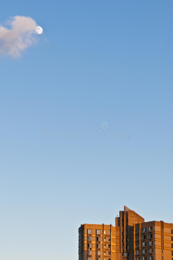 Blue sky with the moon royalty free stock images