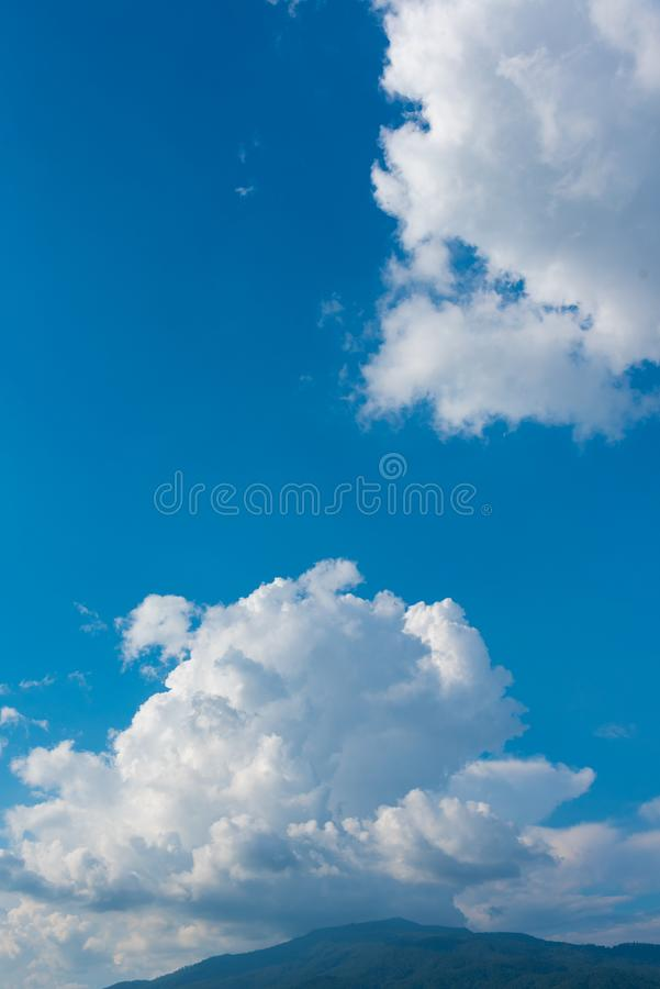 blue sky and mountain in background. stock image