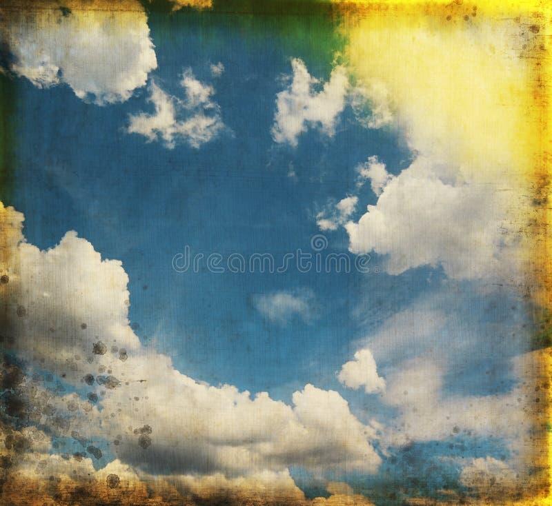Blue sky on old grunge paper stock illustration