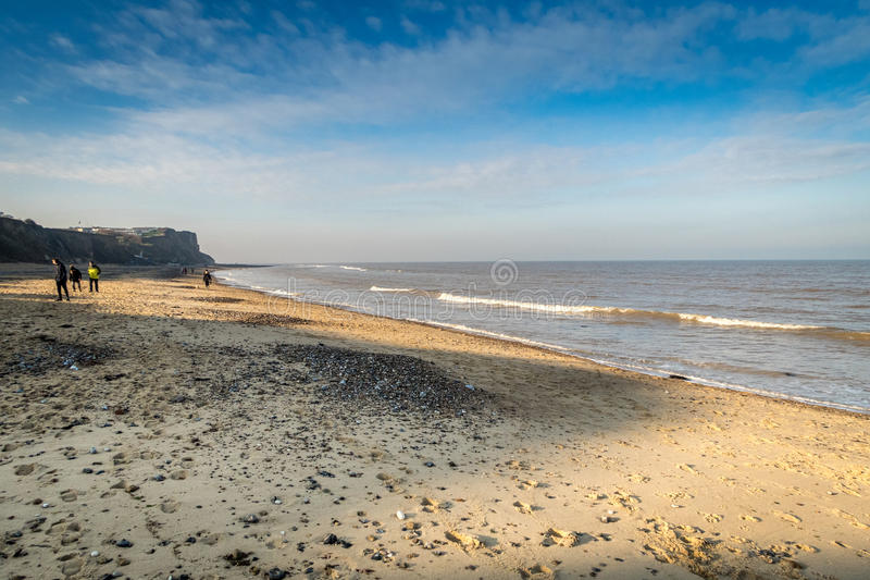 Blue sky over the beach at Cromer, Norfolk royalty free stock photos