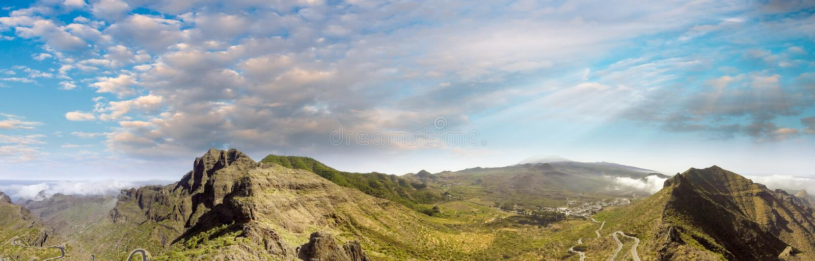 Blue sky over beautiful green mountains, aerial view royalty free stock photos