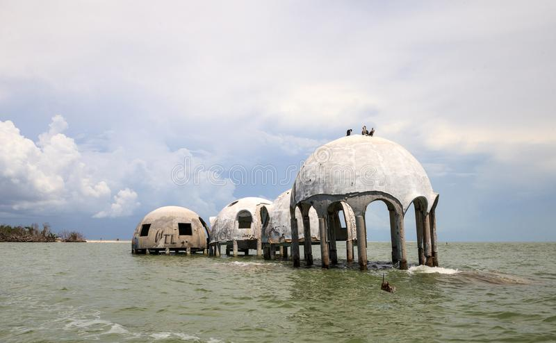 Blue sky over the Cape Romano dome house ruins. In the Gulf Coast of Florida stock images