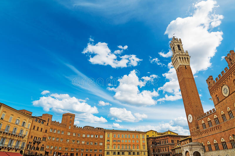 Blue sky over Piazza del Campo in Siena stock images