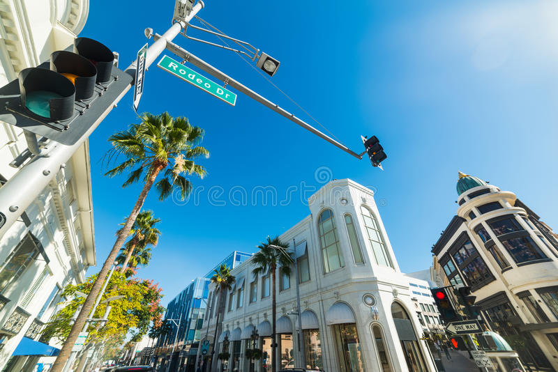 Blue sky over Rodeo drive royalty free stock photography