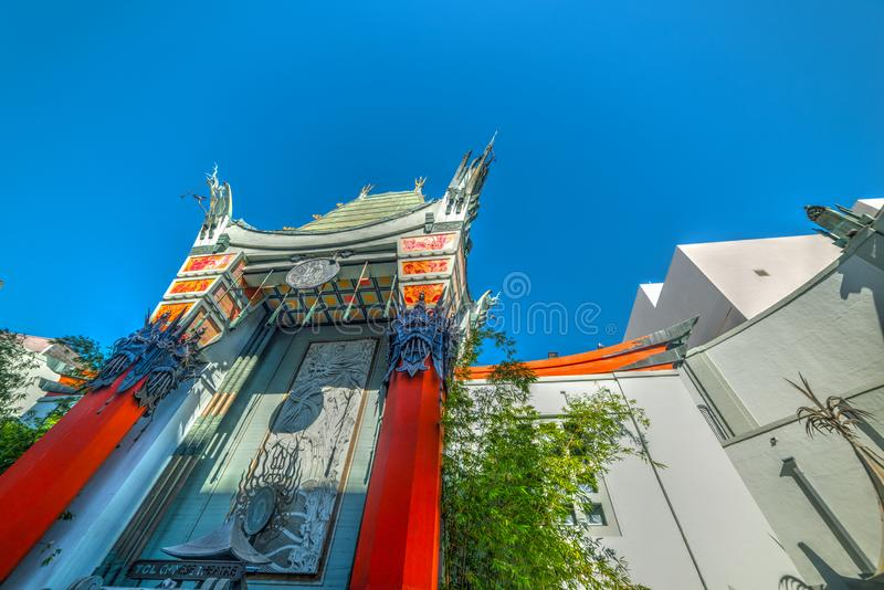 Blue sky over TCL Chinese theater in Hollywood. Los Angeles, CA, USA - November 02, 2016: Blue sky over TCL Chinese theater in Hollywood stock images