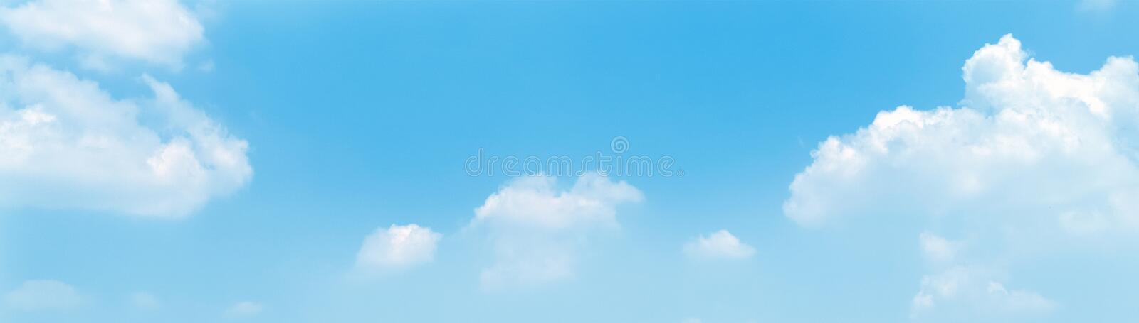 Blue sky panorama background with clouds in the morning. stock photo