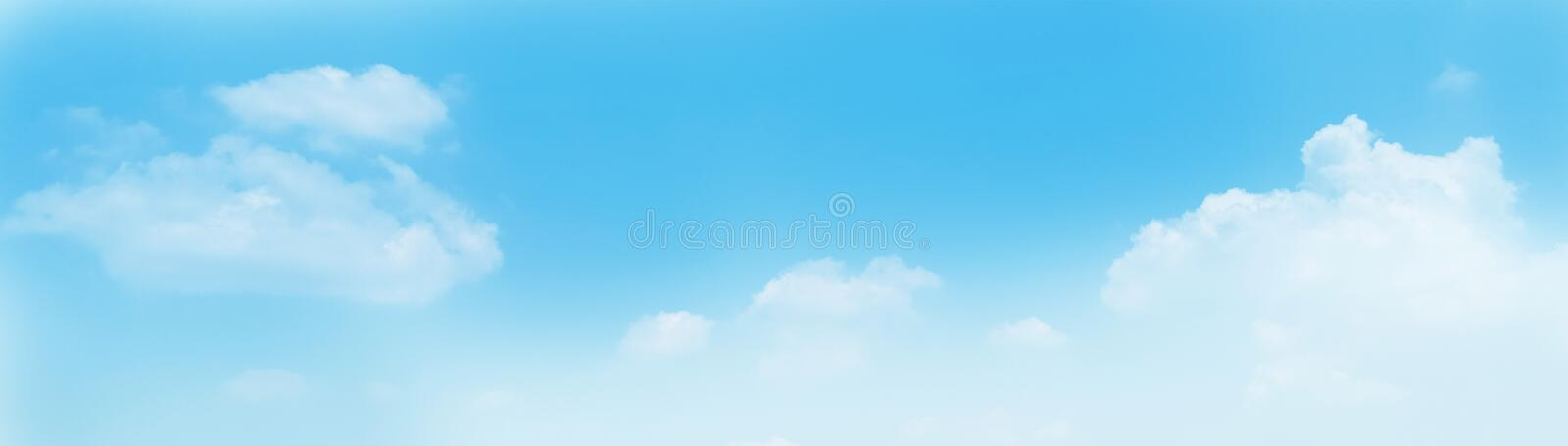 Blue sky panorama background with clouds in the morning. Summer royalty free stock image