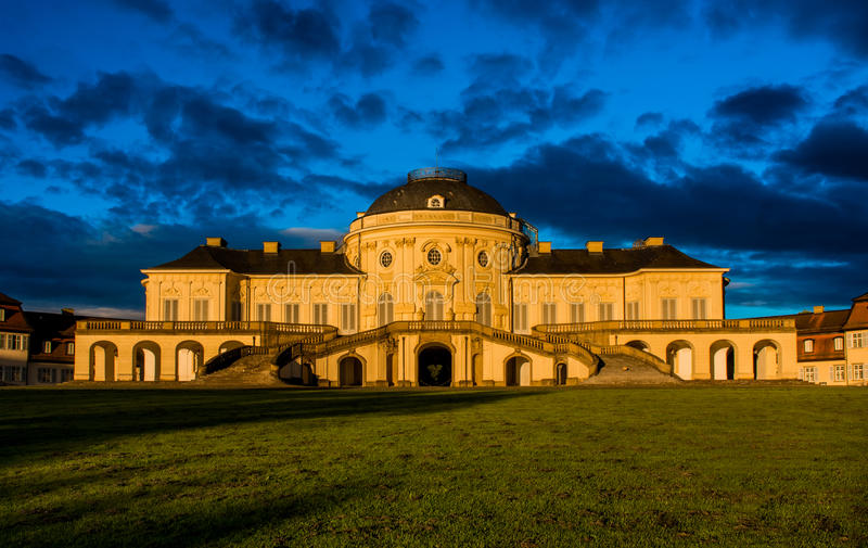 Blue Sky Panorama Exterior Solitude Schloss Castle Stuttgart Germany royalty free stock photos