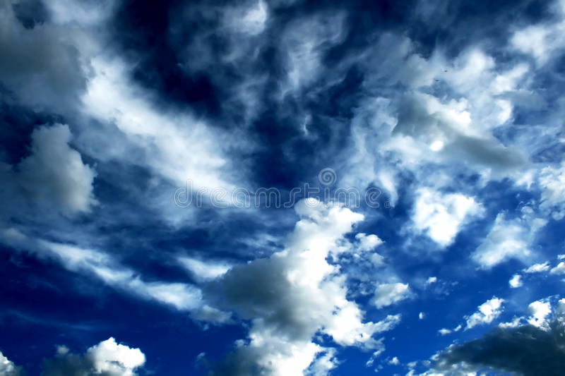 Blue sky and puffy clouds. Beautiful sky with interesting cloud stock photo