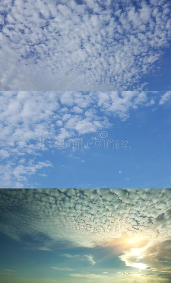 Beautiful cloudy sky backgound the naturally walls texture Ideal for use. Blue sky with puffy white clouds, Include 3 images in 1 file. the naturally walls royalty free stock images