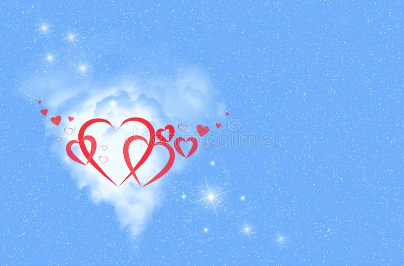 Blue Sky and Red Hearts vector illustration
