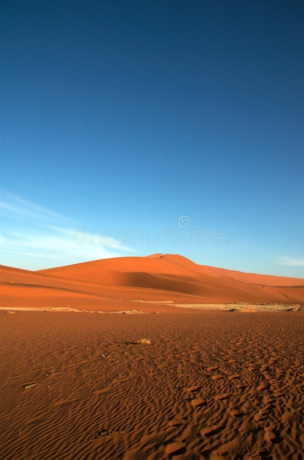 Blue sky and red sand royalty free stock image