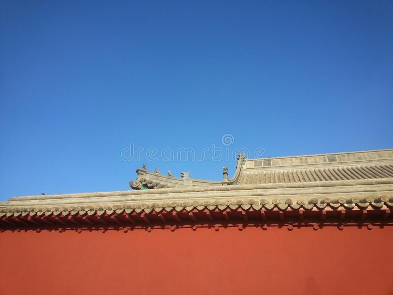 The blue sky red walls! royalty free stock photo