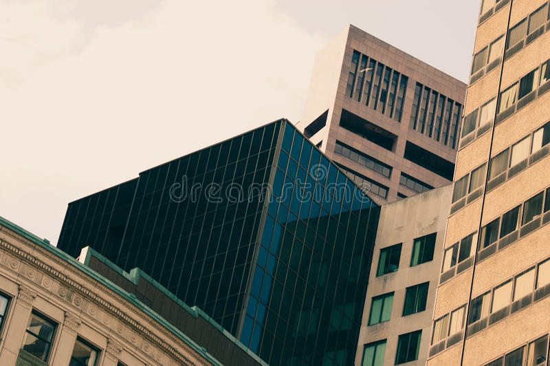 Blue sky reflecting in the windows. Buildings in Boston. Blue sky reflecting in the windows royalty free stock photo