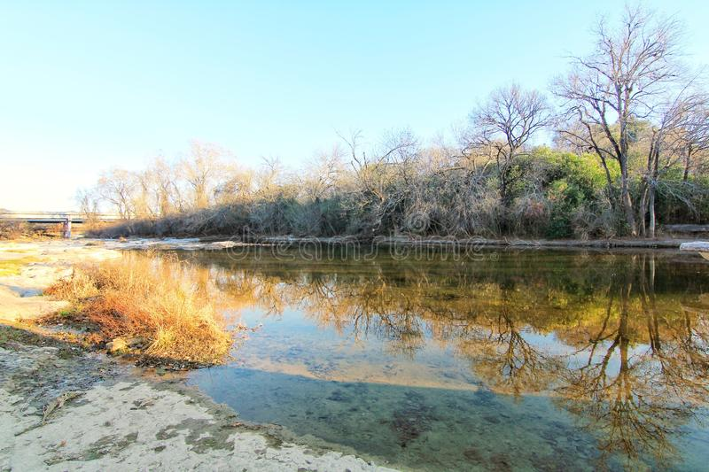 Landscape. Blue sky reflection off trees like water in Round Rock, Texas nature landscape on the water in autumn royalty free stock photography