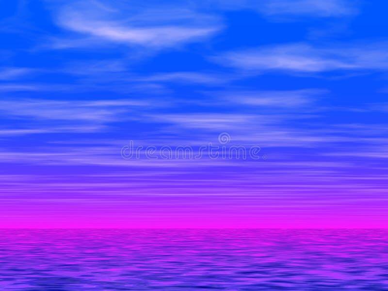 Blue sky and sea 2 stock illustration