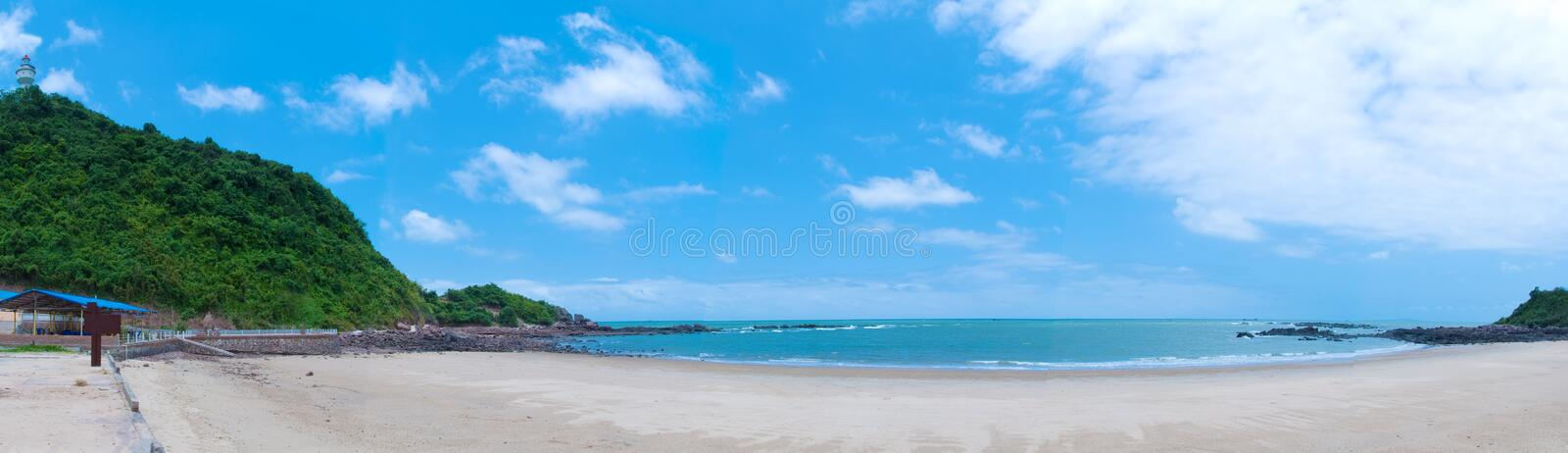 Blue sky and sea. Beautiful beach panorama, clear sky with white clouds floating stock images