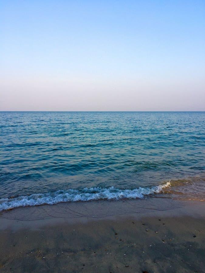 Blue sky sea sand stock photos