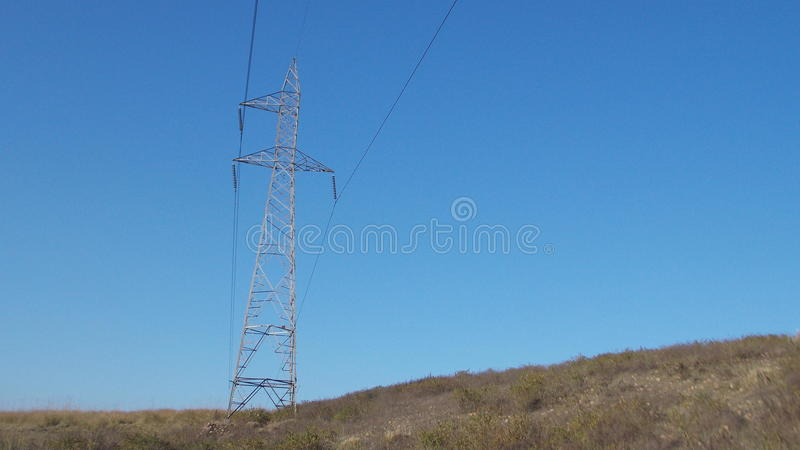 Blue sky @ shock wire royalty free stock image
