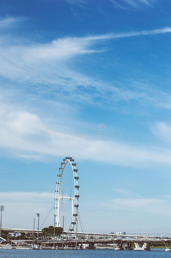 Blue sky at singapore flyer. At a height of 165m, Singapore Flyer is one of the world's largest Giant Observation Wheel and also one of Asia's royalty free stock photo