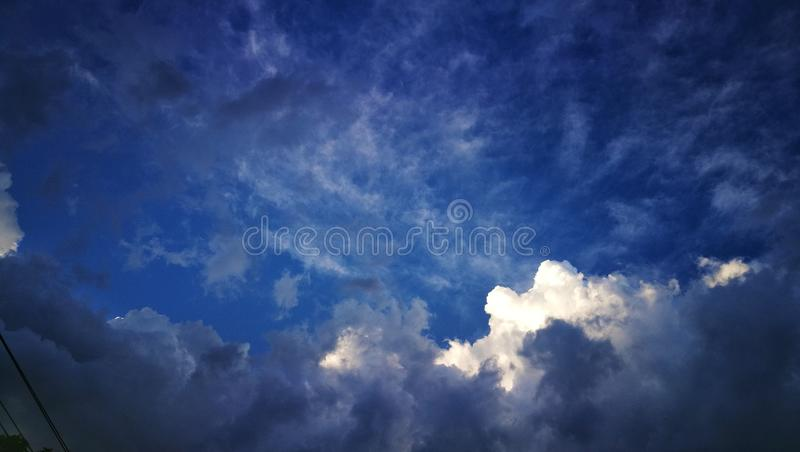 Blue sky with small portion of White cloud royalty free stock photography