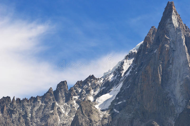 Blue Sky snowy Alpine Mountain Peaks. Blue sky with sharp mountain peak and rocky landscape royalty free stock photos