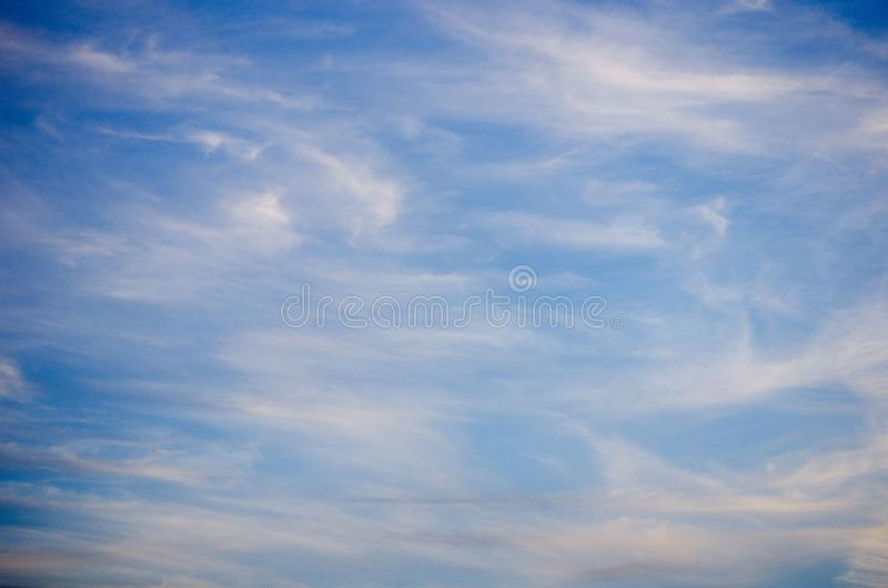 Blue sky with soft clouds. View of blue sky with soft clouds royalty free stock photo