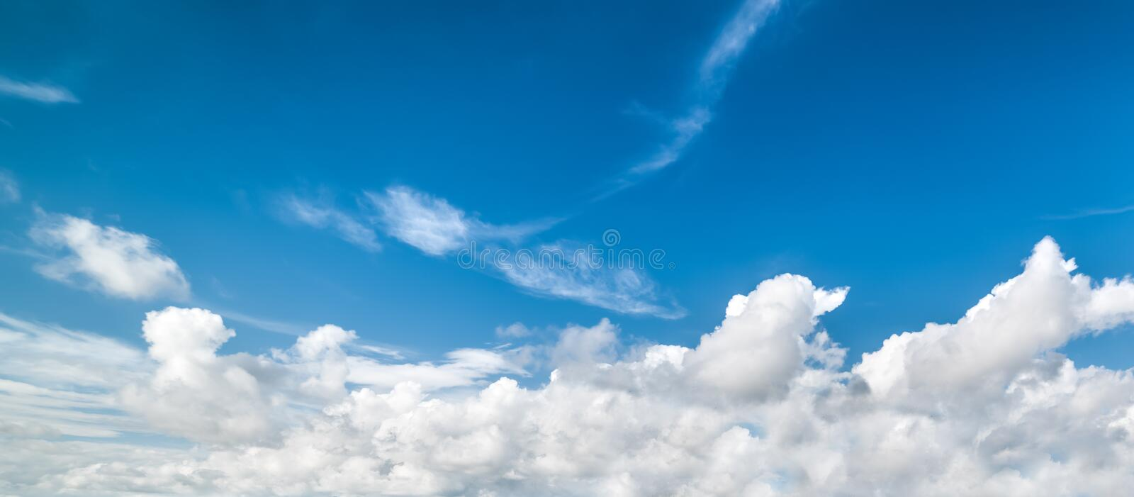 Blue sky with soft clouds. Blue sky with white, soft clouds stock images