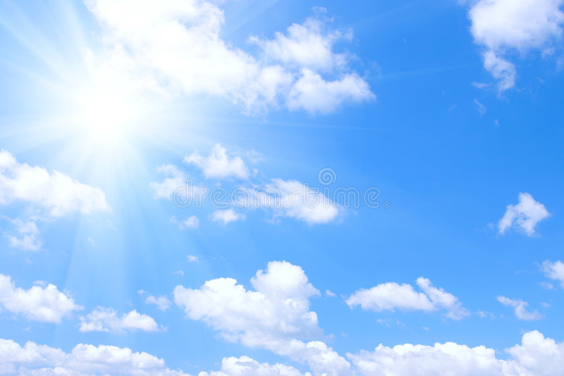 Blue sky and sun stock images