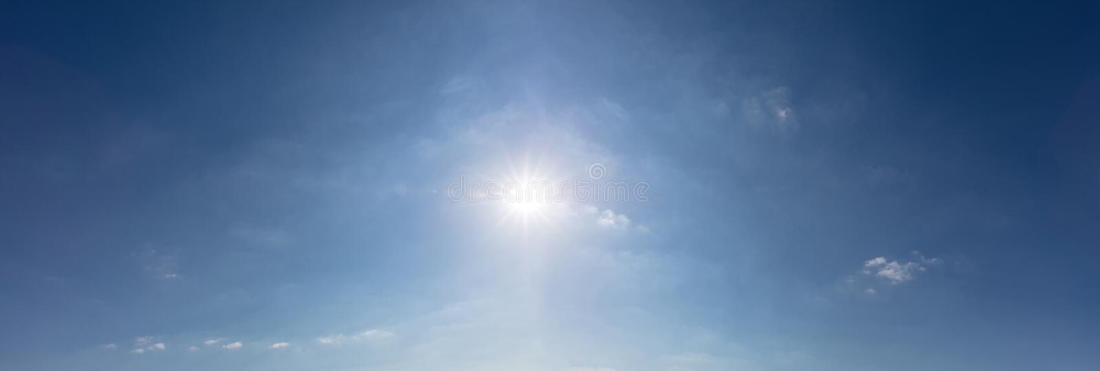 Blue sky with sun as a panorama background royalty free stock image