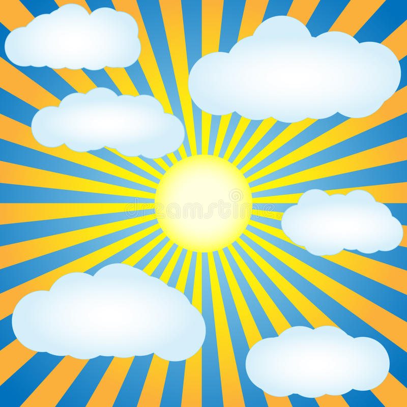 Download Blue Sky With Sun And Clouds Stock Illustration - Image: 26819824