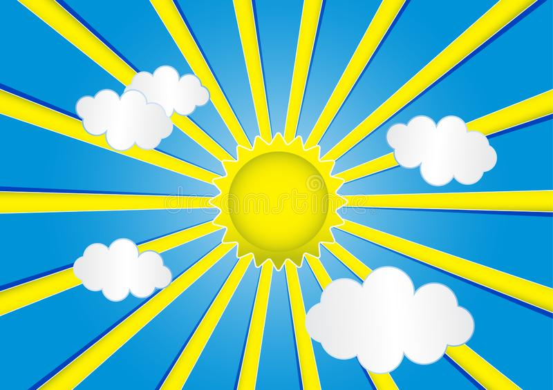 Blue sky with sun and clouds. Is a general illustration royalty free illustration