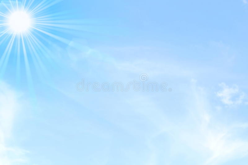 Blue sky with sun and clouds day light background stock images