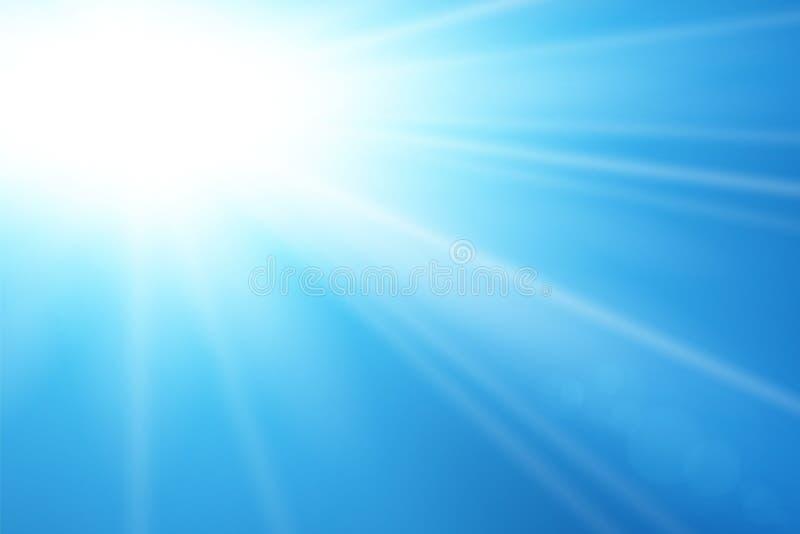 Blue sky sun flare background. Clear summer nature, sunlight weather. Sunshine glare rays, lens. Light sunny spring royalty free illustration