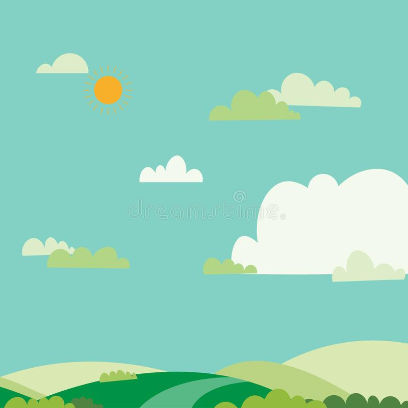 Blue sky sun and green field.Nature landscape on summer.Vector illustration.Green hills with sky and clouds. Background royalty free illustration