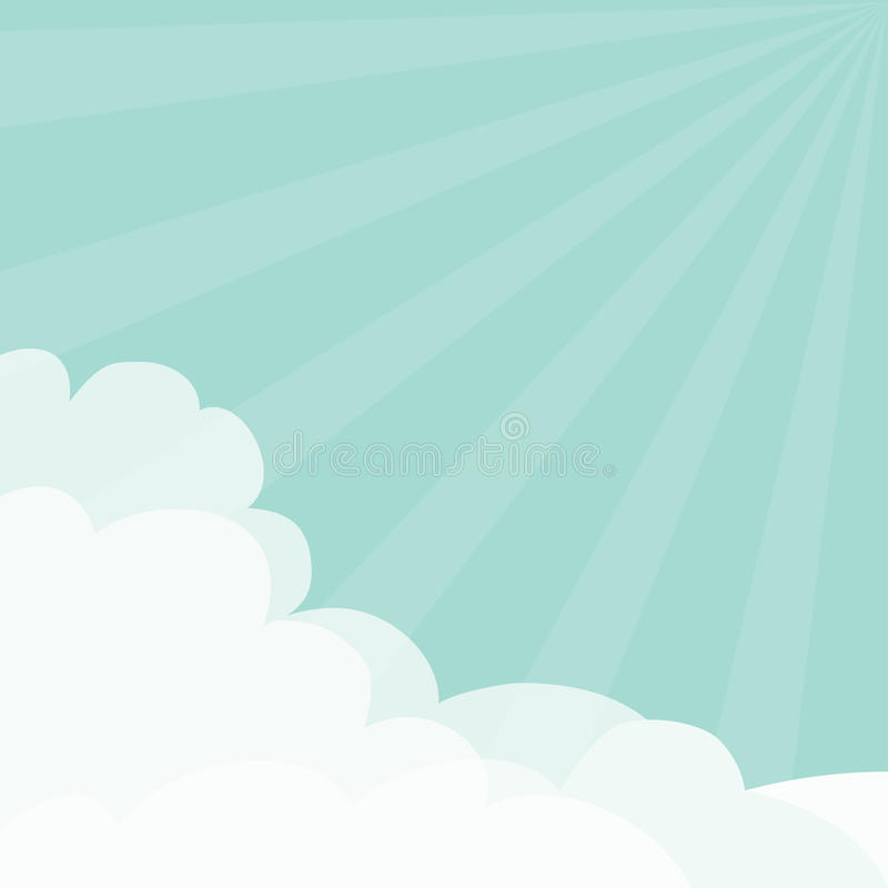 Blue sky. Sun light rays burst. Sunshine Fluffy Cloud in corners frame template. Cloudshape. Cloudy weather. Flat design. Backgrou stock illustration